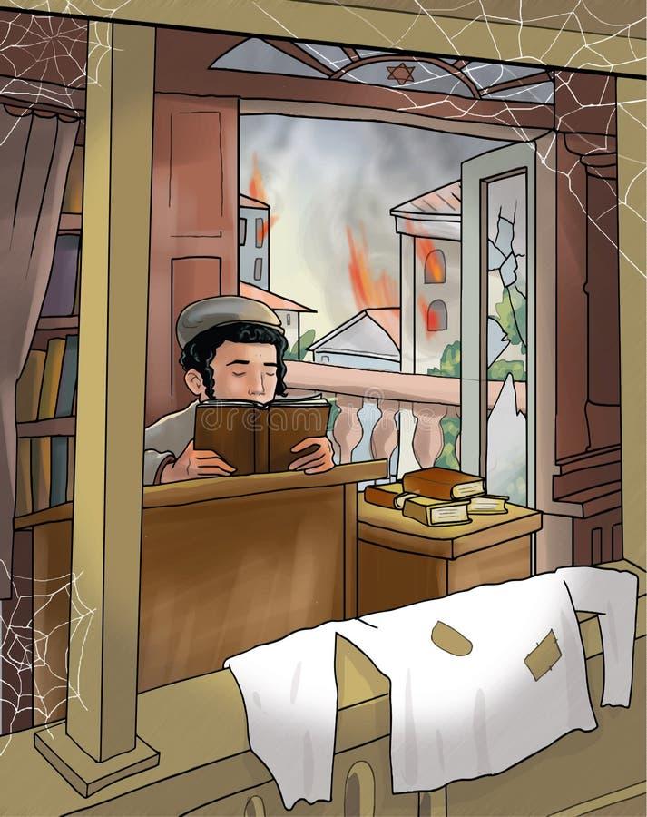Jewish boy read the Torah. During the World War II, Poland. Digital Illustration. Art, print, web vector illustration