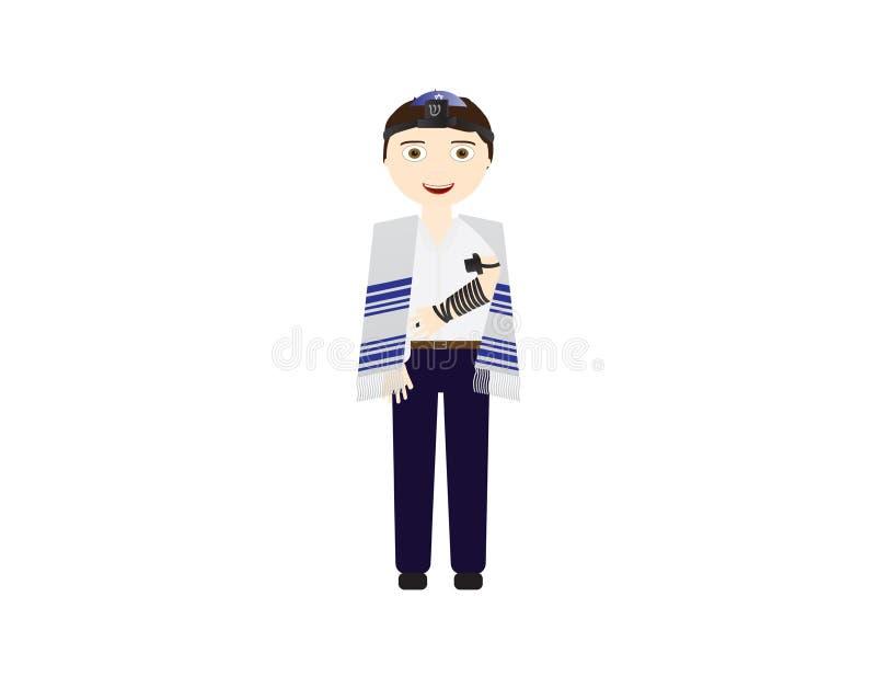 Reform Jewish boy with tefillin and tallit vector illustration. Boy celebrating Bar mitzvah, yom kippur, rosh hashanah, Jewish hol vector illustration