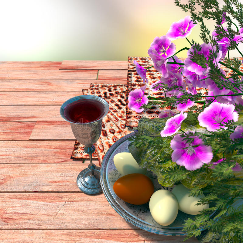 Jewish celebrate pesach passover with eggs. Matzo and flowers on nature background royalty free stock photos