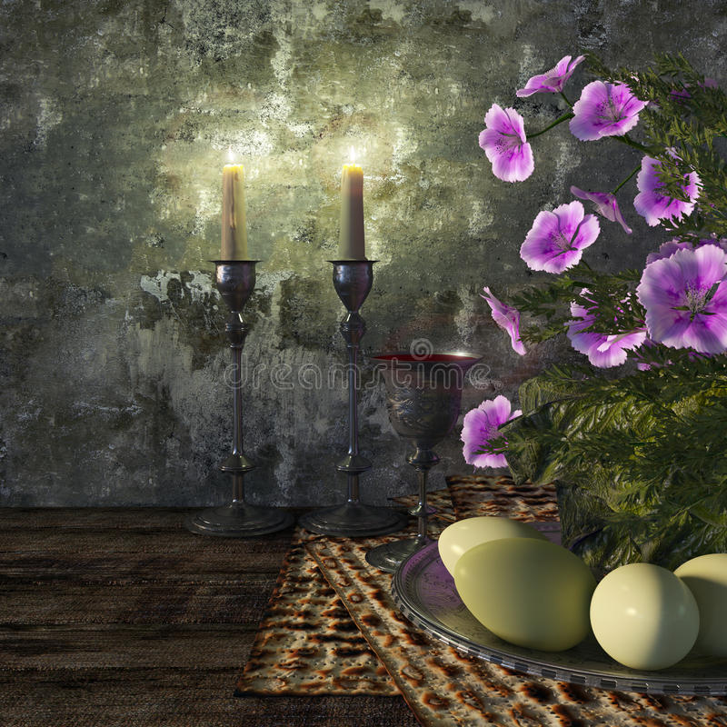 Jewish celebrate pesach passover with eggs. Matzo and flowers on nature background stock images