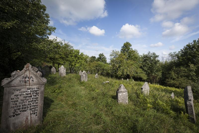 Jewish cemetery in Poland an abandoned place full of beautiful matzevot.  stock photography