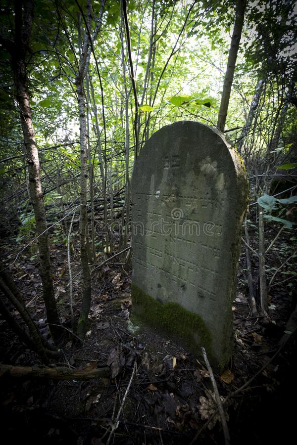 Jewish cemetery in Poland an abandoned place full of beautiful matzevot.  stock image