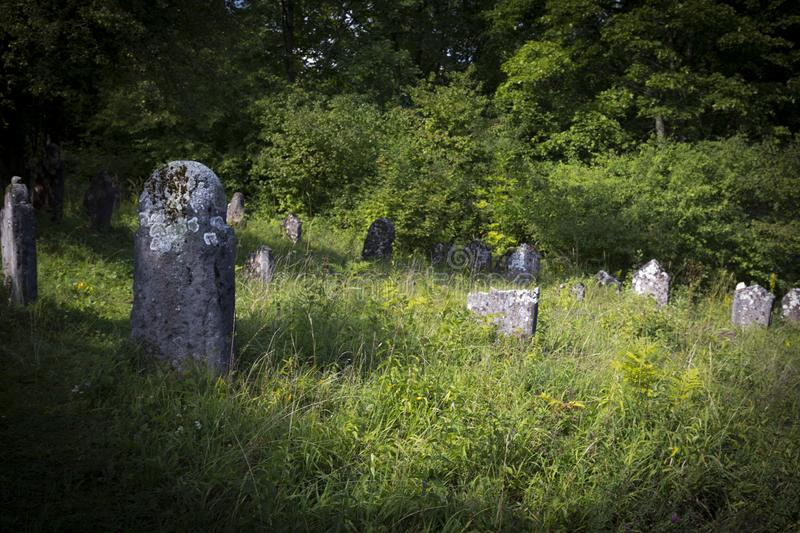 Jewish cemetery in Poland an abandoned place full of beautiful matzevot.  stock images