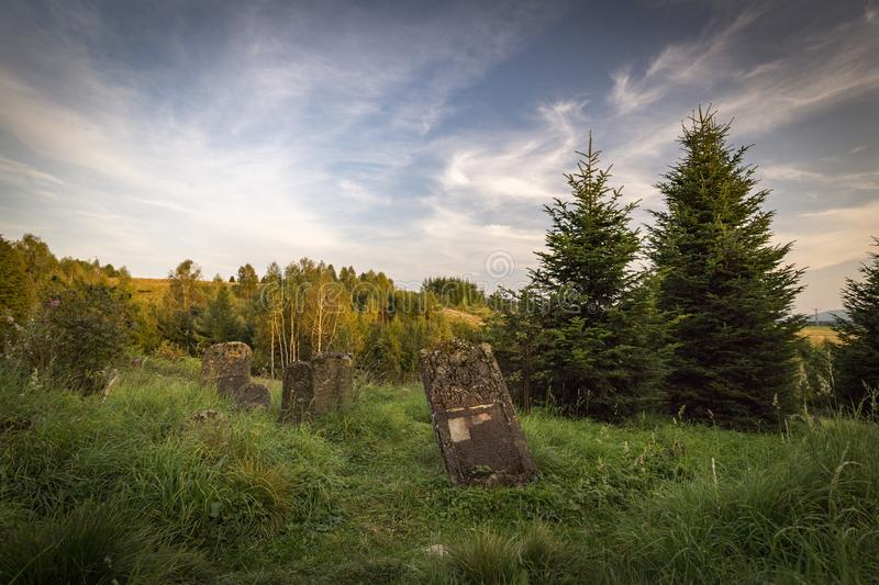Jewish cemetery in Poland an abandoned place full of beautiful matzevot stock photos