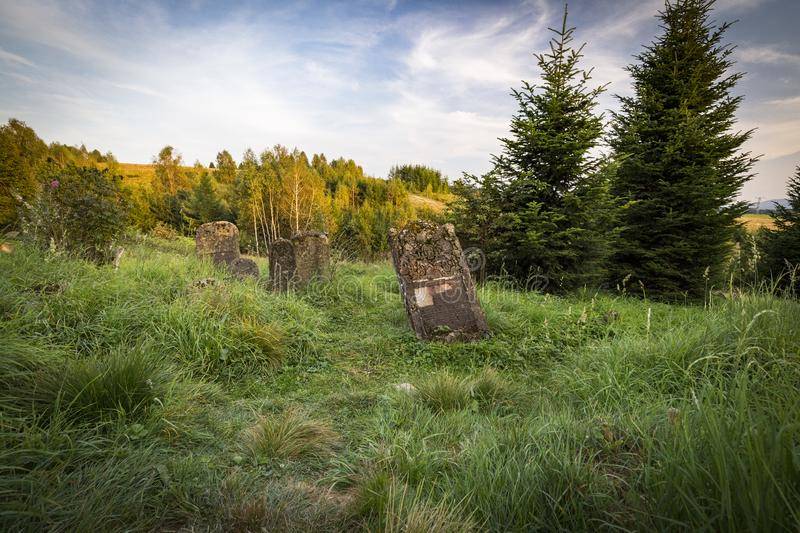 Jewish cemetery in Poland an abandoned place full of beautiful matzevot.  royalty free stock image