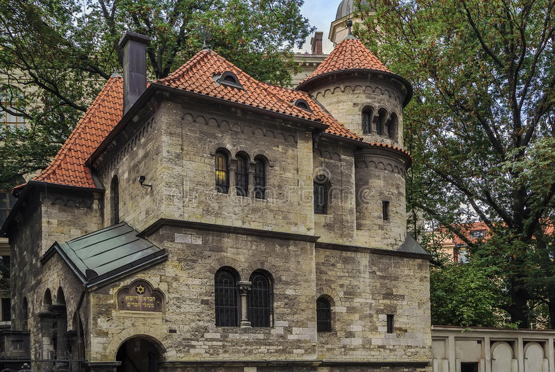 Jewish Ceremonial Hall, Prague. The Jewish Ceremonial Hall was built in 1911-12 in the neo-Romanesque style, Prague, Czech republic stock images