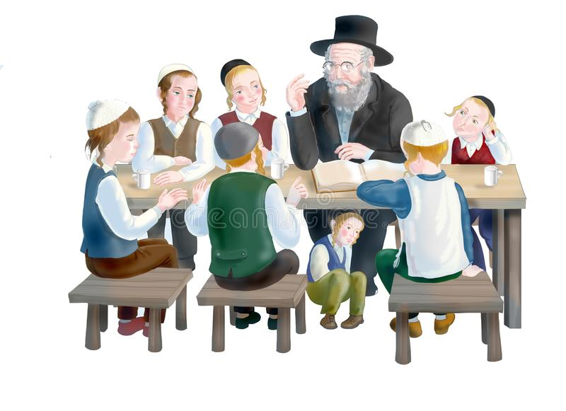 Jewish children with a rabbi stock illustration