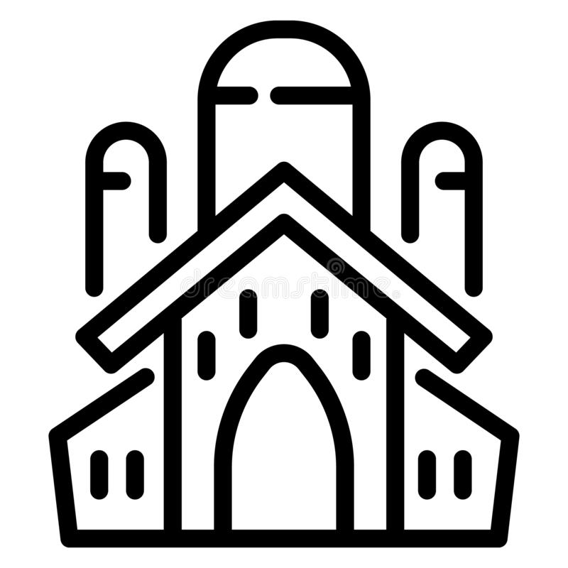 Jewish church icon, outline style vector illustration