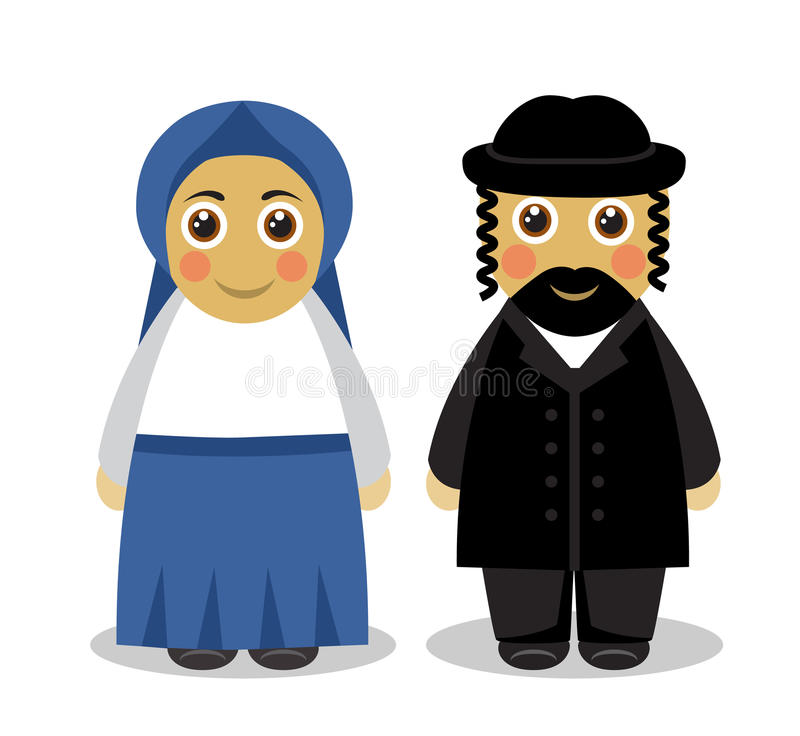 Jewish couple people. Cartoon cute husband and wife Jews in traditional dress on a white background vector illustration