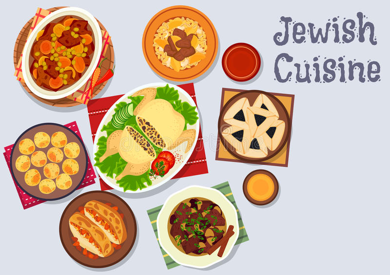 Jewish Cuisine Kosher Dinner Icon With Beef, Potato And Bean Stew ...