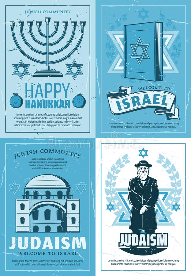 Jewish culture holiday, Judaism religion symbols. Judaism religion and Israel synagogue, Jewish culture and tradition posters. Vector Hanukkah Menorah, David stock illustration