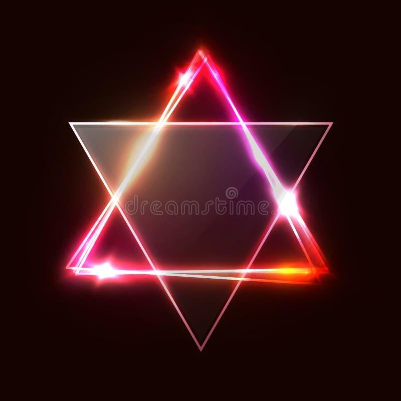 Jewish David star design. Triangle banner. Jewish David star design. Triangle banner with transparent glass plate. Neon sign. Judaism Hebrew Israel symbol art vector illustration