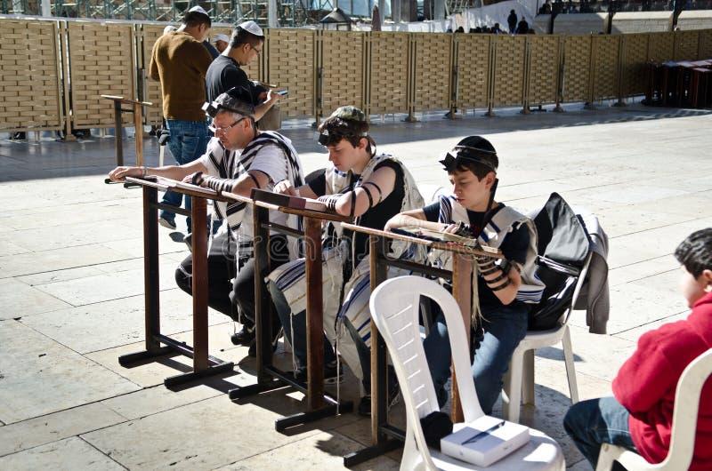 Jewish family praying in Jerusalem royalty free stock photos