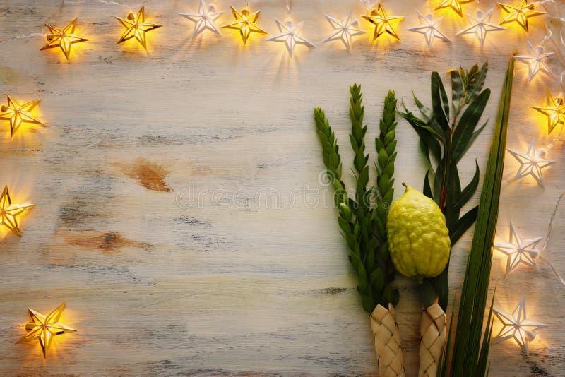 Jewish festival of Sukkot. Traditional symbols The four species: Etrog citron, lulav palm branch, hadas myrtle, arava stock image