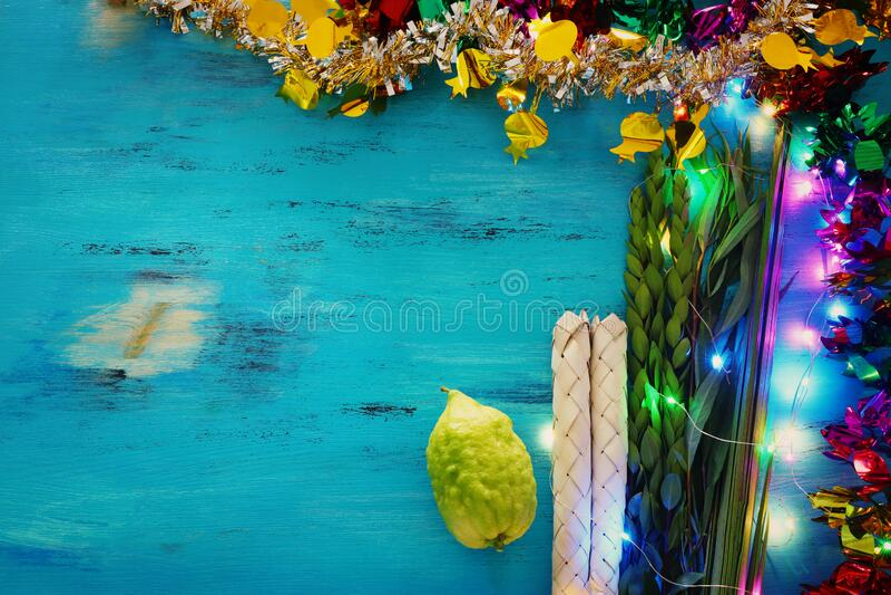 Jewish festival of Sukkot. Traditional symbols The four species: Etrog citron, lulav palm branch, hadas myrtle, arava stock photos