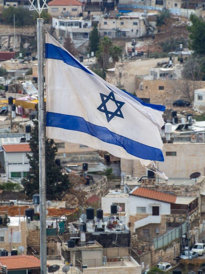 Jewish flag in Jerusalem, Israel royalty free stock photos