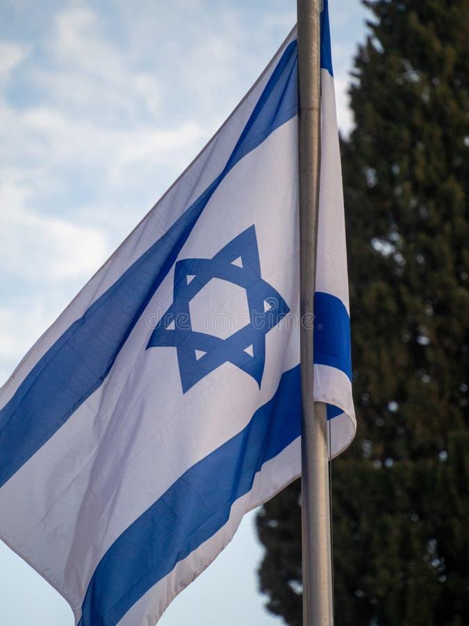 Jewish flag in Jerusalem, Israel stock photos