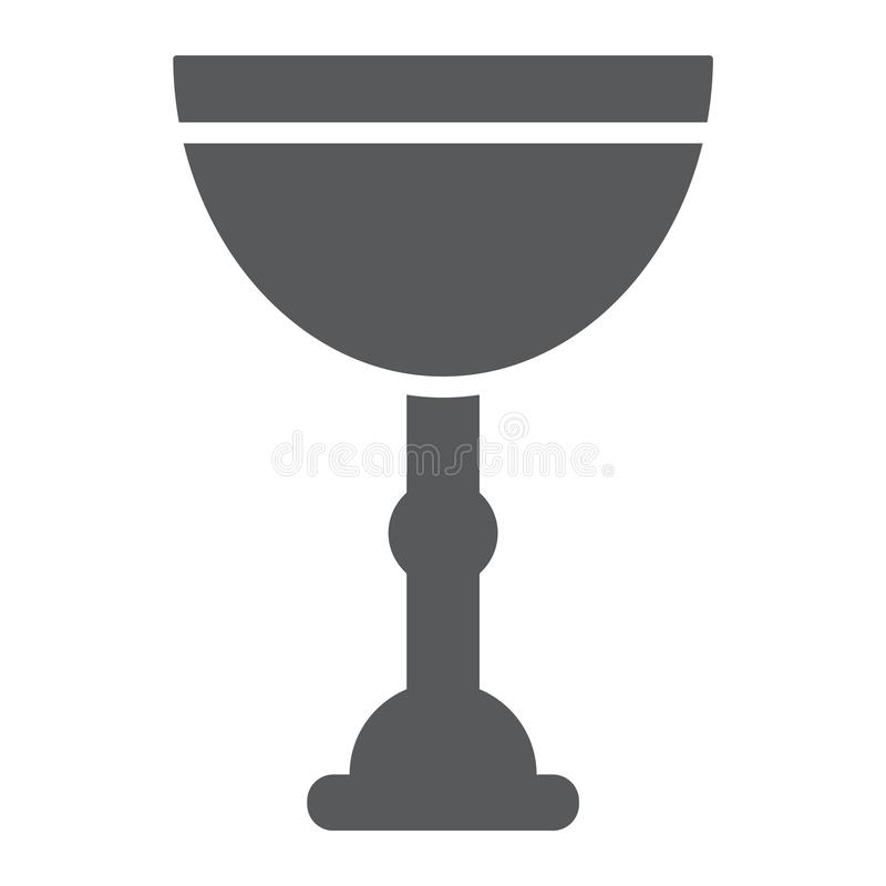 Jewish goblet glyph icon, cup and judaism, kiddush wine cup sign, vector graphics, a solid pattern on a white background royalty free illustration