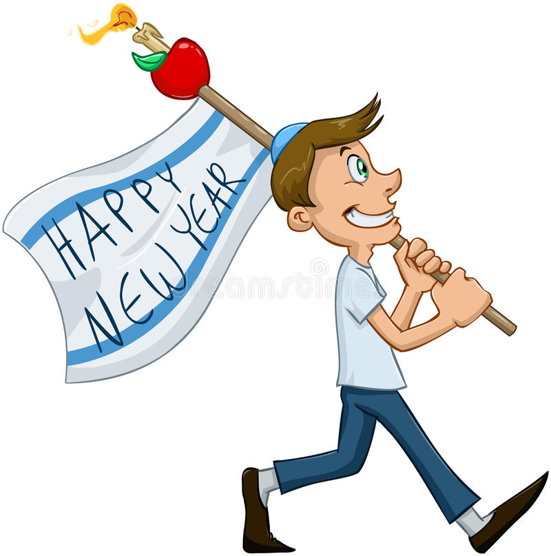 Jewish Guy Hold Flag For Rosh Hashanah. Vector illustration of jewish guy holds happy new year flag for rosh hashana royalty free illustration