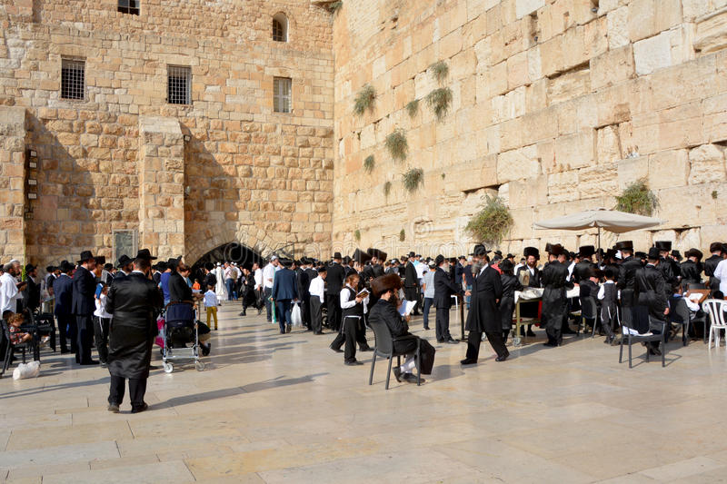 Jewish hasidic pray. JERUSALEM ISRAEL 26 10 16: Jewish hasidic pray a the Western Wall, Wailing Wall the Place of Weeping is an ancient limestone wall in the Old stock images