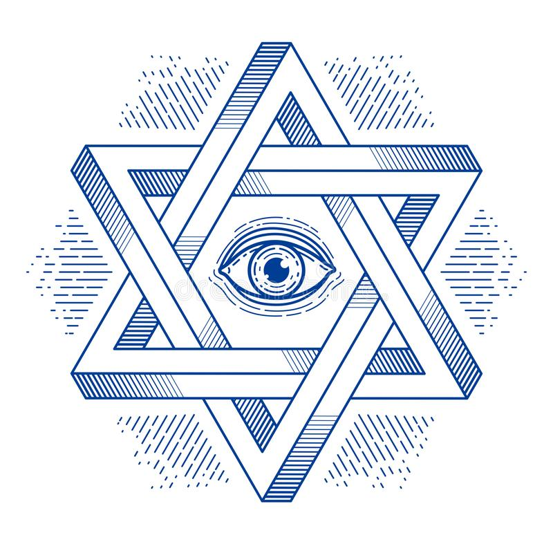 Jewish hexagonal star with all seeing eye of god sacred geometry religion symbol created from two dimensional triangles impossible. Shapes, vector logo or royalty free illustration