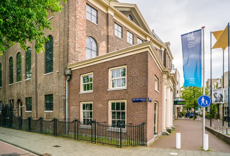 Jewish historic museum on the Nieuwe Amstelstraat in the old Jewish quarter of Amsterdam stock photos