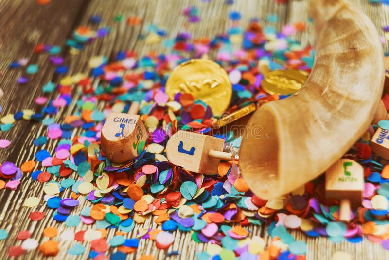 Jewish holiday Dreidel still life composed of elements the Chanukah Hanukkah festival royalty free stock image