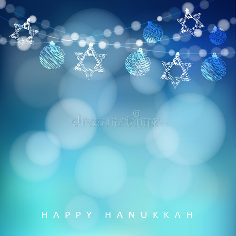 Jewish holiday hannukah greeting card with garland of lights and download jewish holiday hannukah greeting card with garland of lights and jewish stars stock vector m4hsunfo Image collections