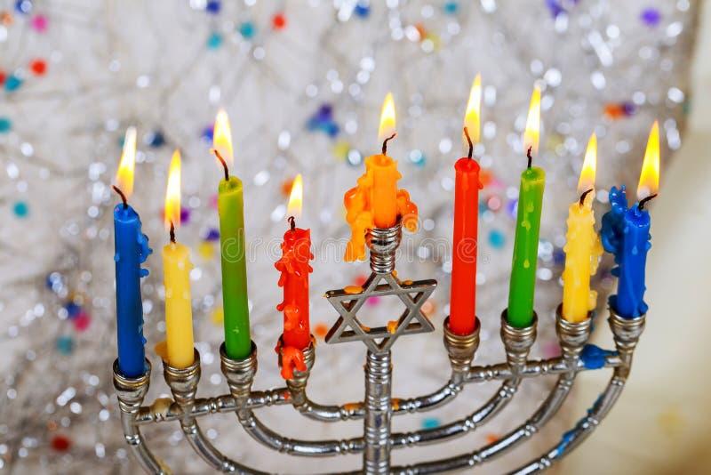 Jewish holiday hannukah symbols - menorah royalty free stock photo