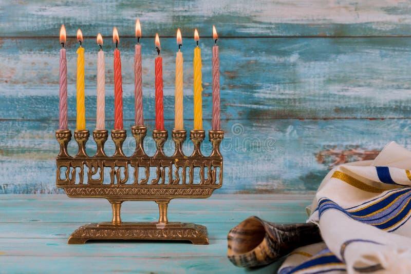 Jewish holiday hannukah symbols - menorah stock image