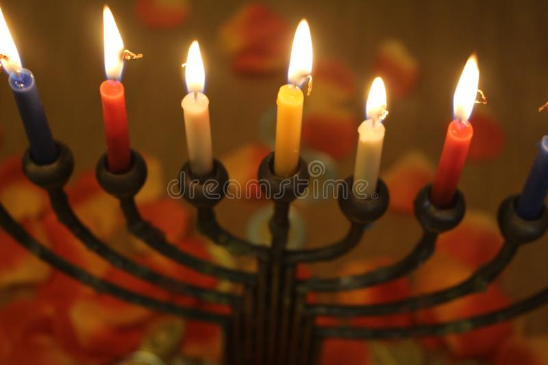 Download Jewish Holiday Hanukkah With Candles Light Stock Image   Image Of  Enlighten, Blue: