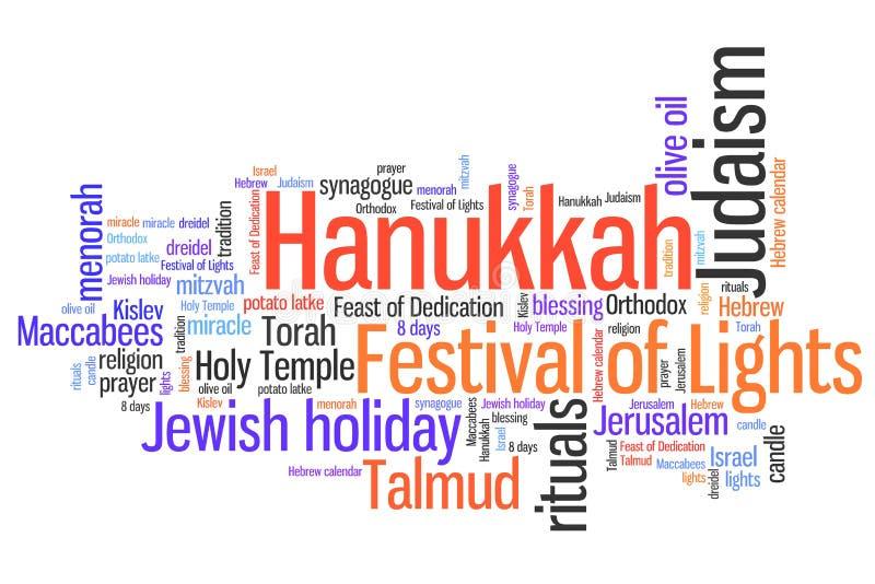 Jewish holiday. Hanukkah celebration concepts word cloud illustration. Word collage concept vector illustration