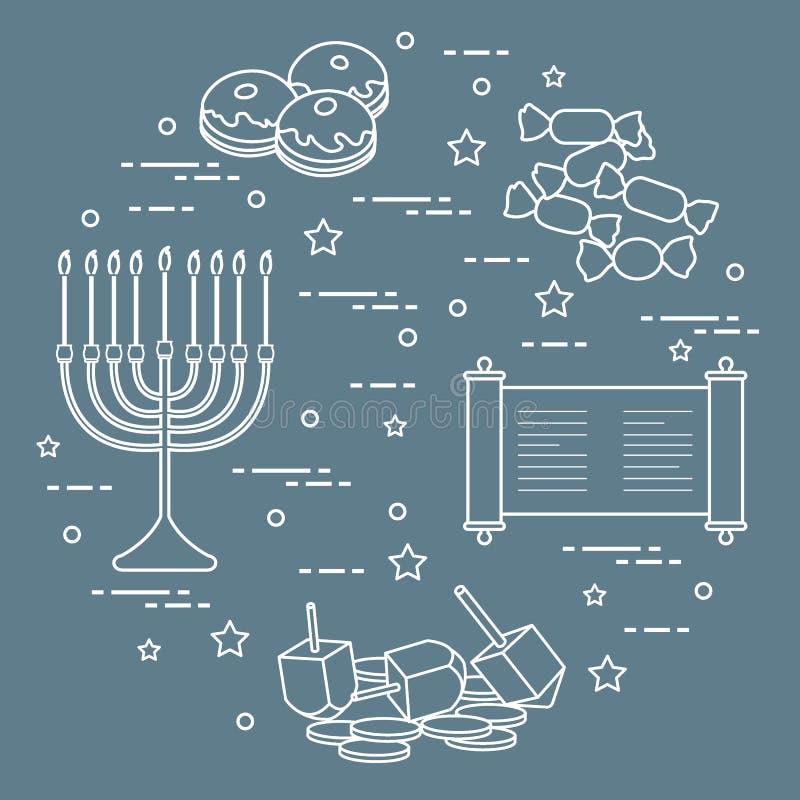 Jewish holiday Hanukkah: dreidel, sivivon, menorah, coins, donuts and other. Design for postcard, banner, poster or print. Jewish holiday Hanukkah: dreidel royalty free illustration