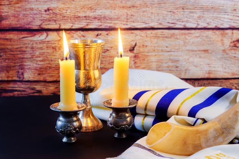 jewish holiday Hanukkah Festive composition for on dark background stock images