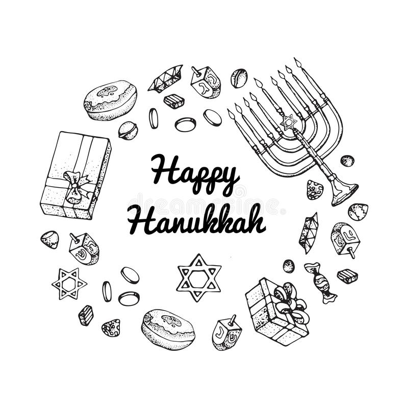 Jewish holiday Hanukkah greeting card. Doodle Set of traditional Chanukah symbols isolated on white - dreidels, Hebrew. Letters, donuts, menorah candles, star royalty free illustration