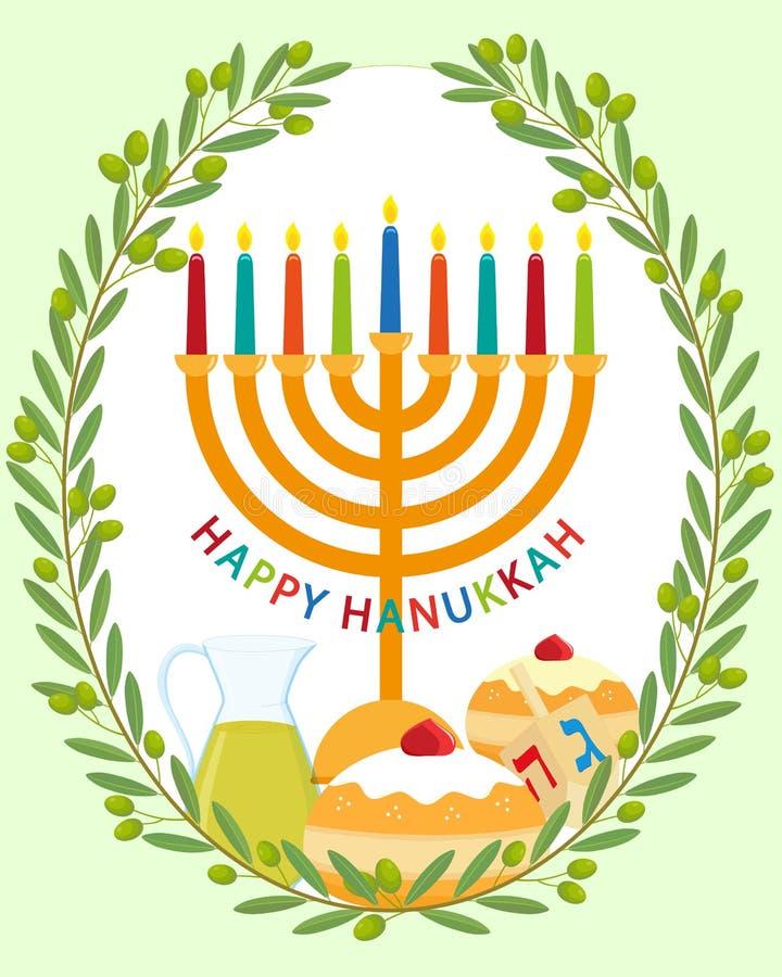 Jewish holiday of hanukkah greeting card stock illustration download jewish holiday of hanukkah greeting card stock illustration illustration of religious food m4hsunfo