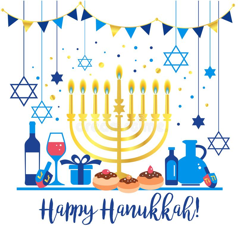 Jewish holiday Hanukkah greeting card traditional Chanukah symbols - wooden dreidels spinning top , Hebrew letters vector illustration
