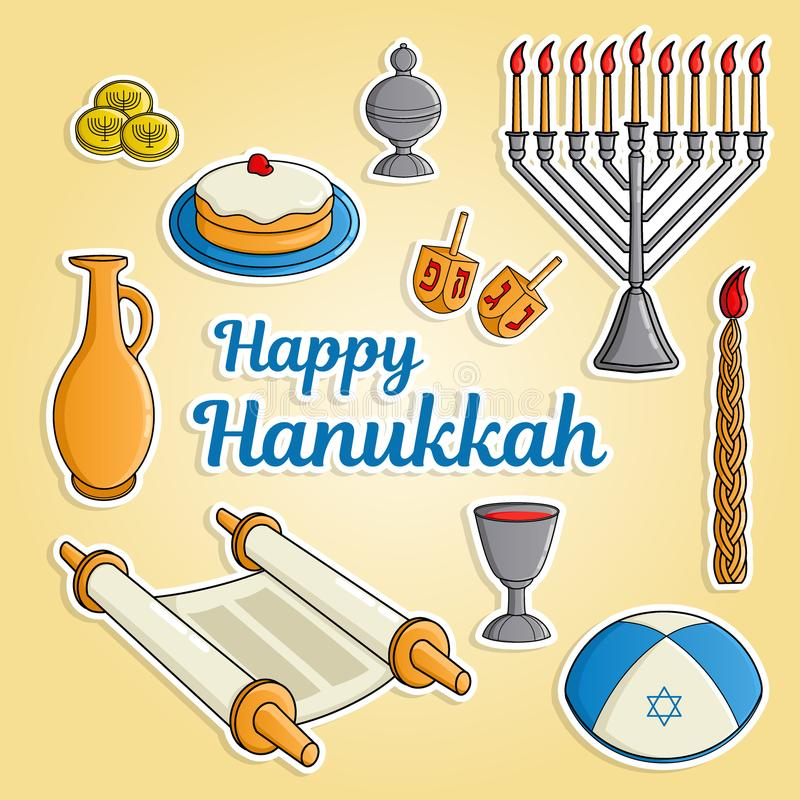 Jewish holiday Hanukkah greeting card. Traditional menora, candle, cup of wine, hat, jug of oil, dreidel with Hebrew. Letters, Torah scroll, incense box. Raster royalty free illustration