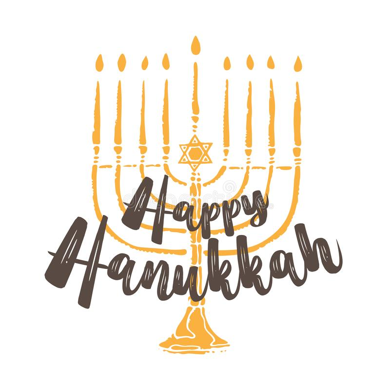 Jewish holiday Hanukkah greeting. Traditional Chanukah symbols isolated on white - menorah candles, star David glowin royalty free illustration