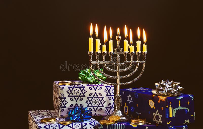 Jewish holiday Hanukkah with menorah in the festival royalty free stock images