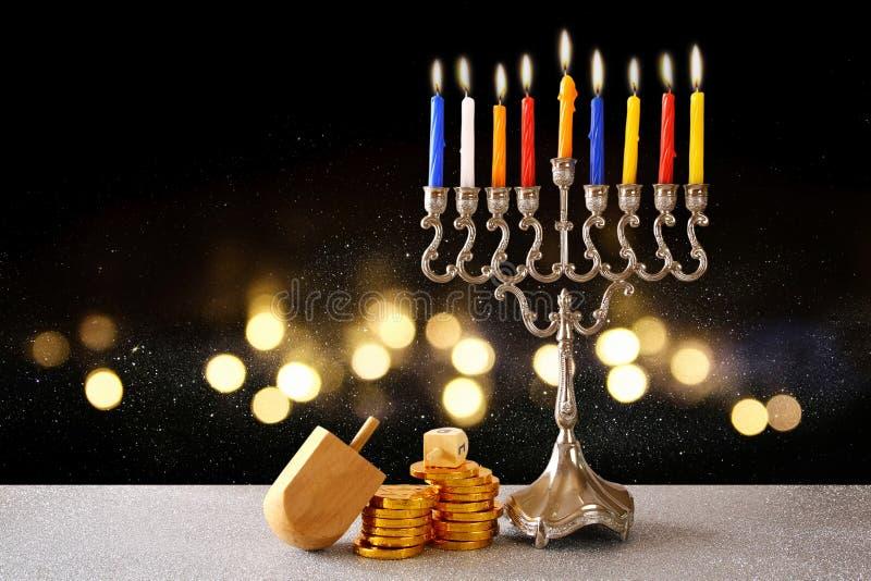 jewish holiday Hanukkah with menorah royalty free stock images