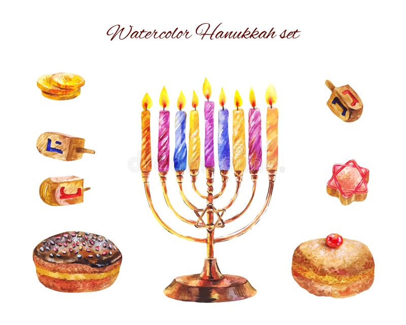 Jewish holiday Hanukkah with menorah and sufganiyot. Vector watercolor illustration. Set of Hanukkah candles, sevivons, bakery isolated on white. Watercolor vector illustration