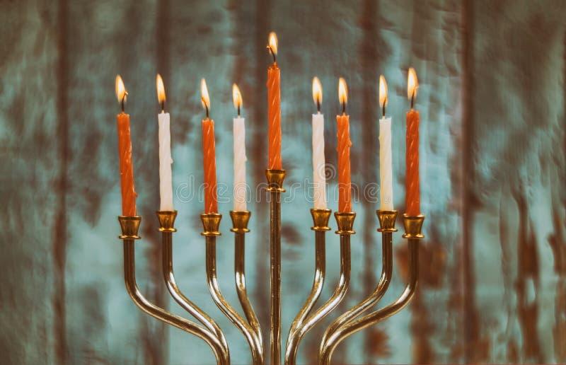 jewish holiday Hanukkah with menorah traditional Candelabra stock photography