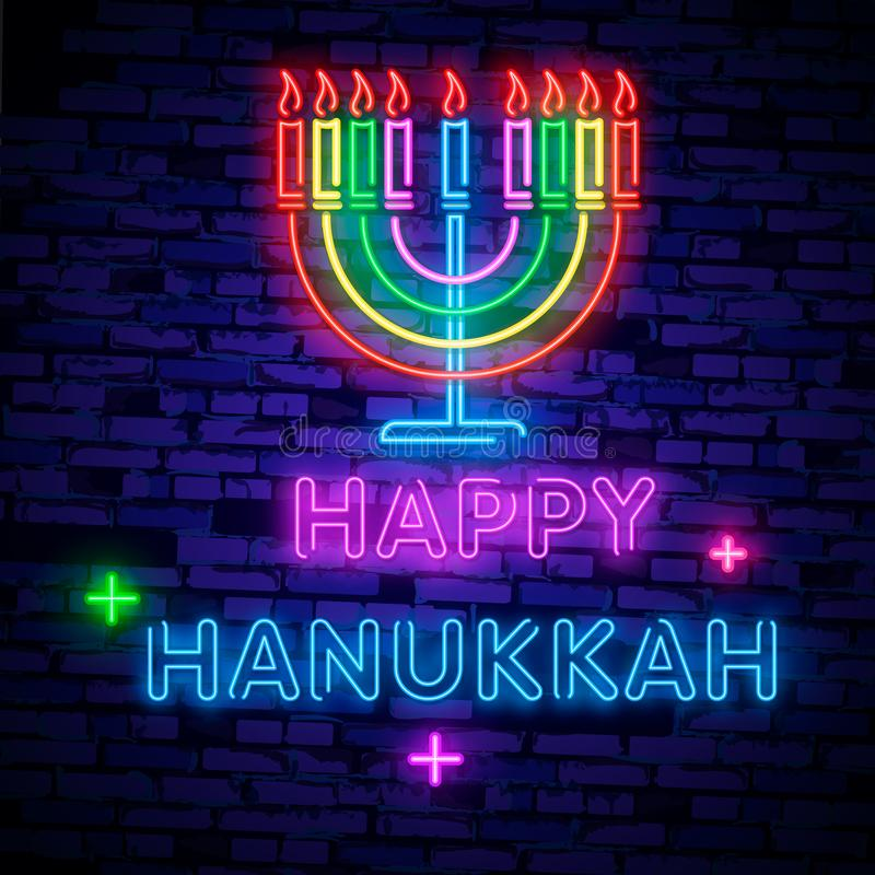 Jewish holiday Hanukkah is a neon sign, a greeting card, a traditional Chanukah template. Happy Hanukkah. Neon banner, bright lumi. Nous sign stock illustration