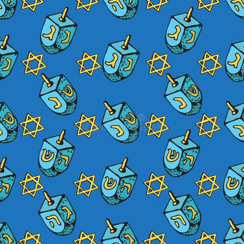 Jewish holiday Hanukkah seamless pattern. Set of traditional Chanukah symbols - dreidels, star David glowing lights. Doodle Vector vector illustration