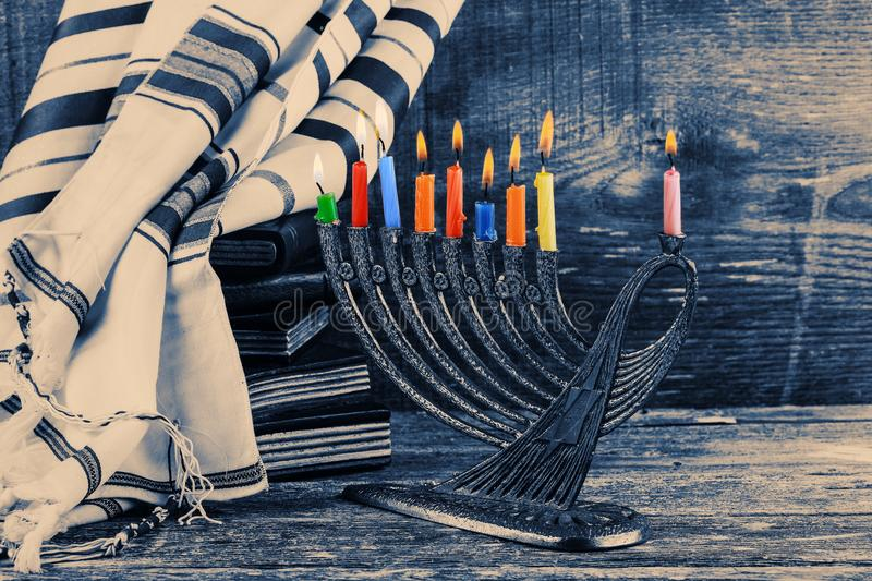 Jewish holiday, Holiday symbol Hanukkah, the Jewish Festival of Lights. Jewish holiday, Holiday symbol Hanukkah Brightly Glowing Hanukkah Menorah - Shallow Depth royalty free stock photo