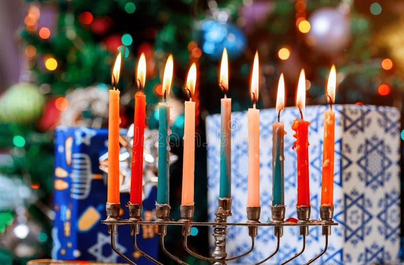 Brightly Glowing Hanukkah Menorah soft focus royalty free stock photos