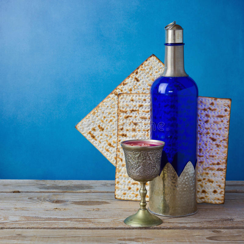 Jewish holiday Passover background with matzo and wine royalty free stock photo