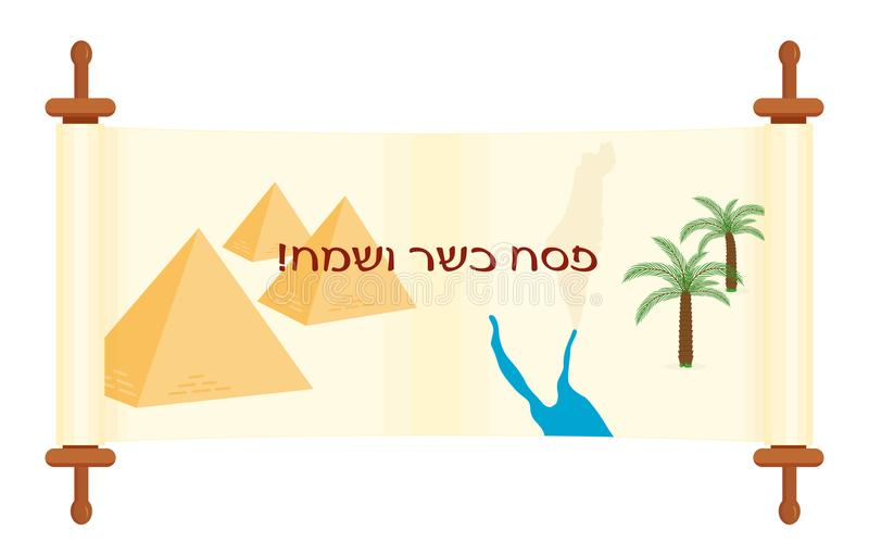 Jewish holiday of Passover, banner with scroll. Jewish holiday of Passover, banner with pyramids, Red Sea and palms on scroll, Exodus from Egypt, greeting vector illustration
