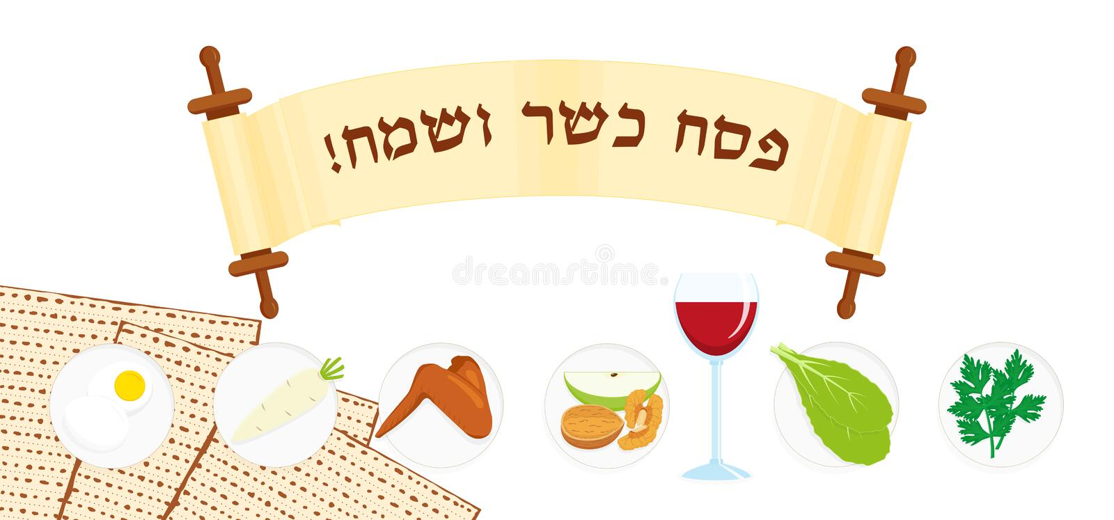 Jewish holiday of Passover, banner with scroll. Jewish holiday of Passover, banner with matzah - unleavened bread, holiday symbolic foods, symbols of Pesach vector illustration